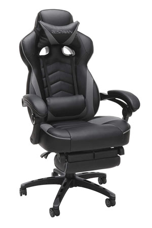 RESPAWN 110 Reclining Racing Style Ergonomic Gaming Gray Footrest Leather Chair