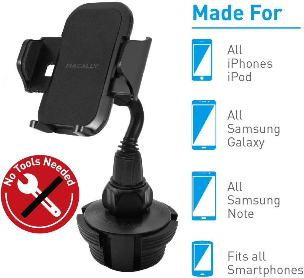 Macally Phone Mount Base Cradle Quick Release Simple Car Adjustable Neck