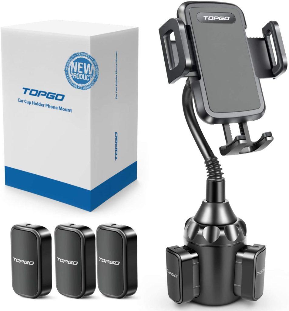TOPGO Black Car Cup Mount Adjustable Upgraded Gooseneck Automobile Phone Holder
