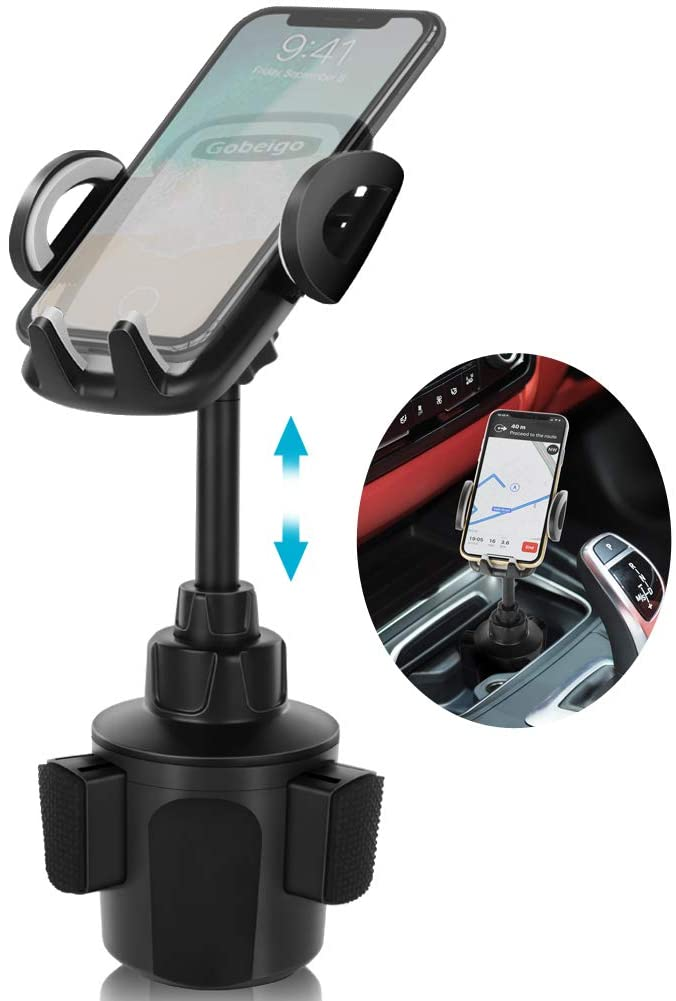 Gobeigo Car Height Adjustable Fits All Phone Metal Stand Cup Cradle Mount Holder