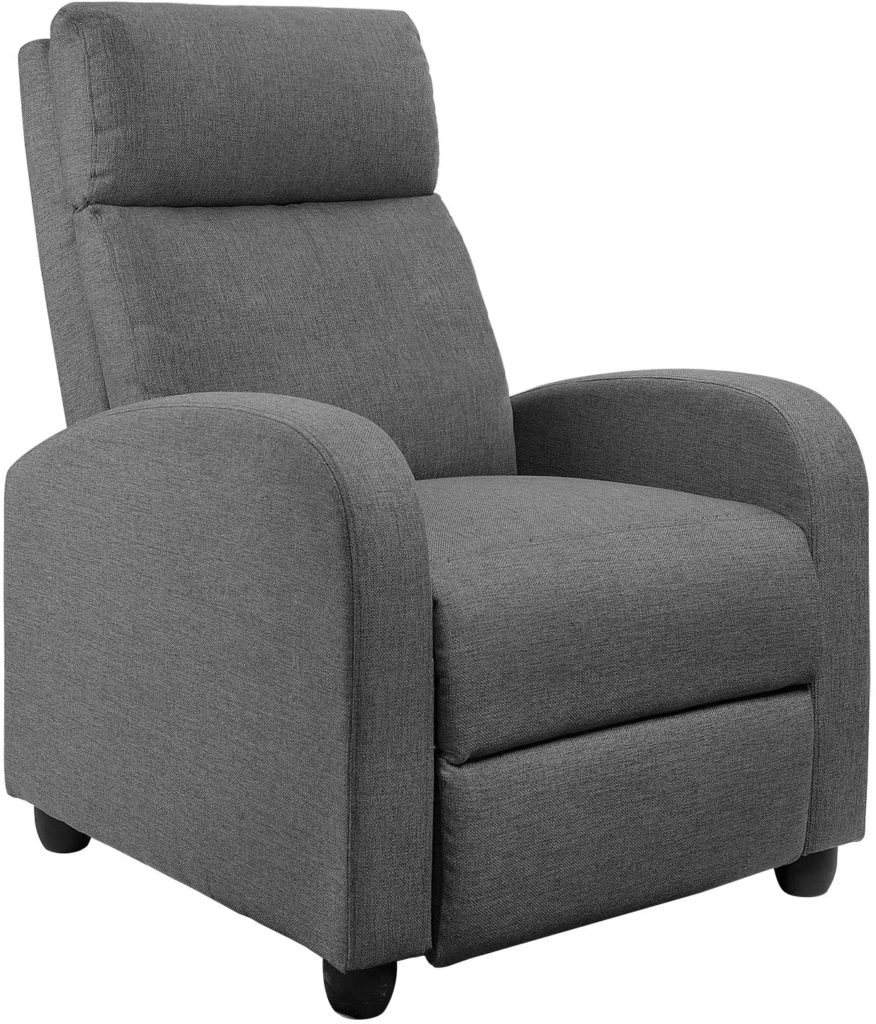 JUMMICO Fabric Thick Seat Push Back Single Grey Sofa Modern Cushion