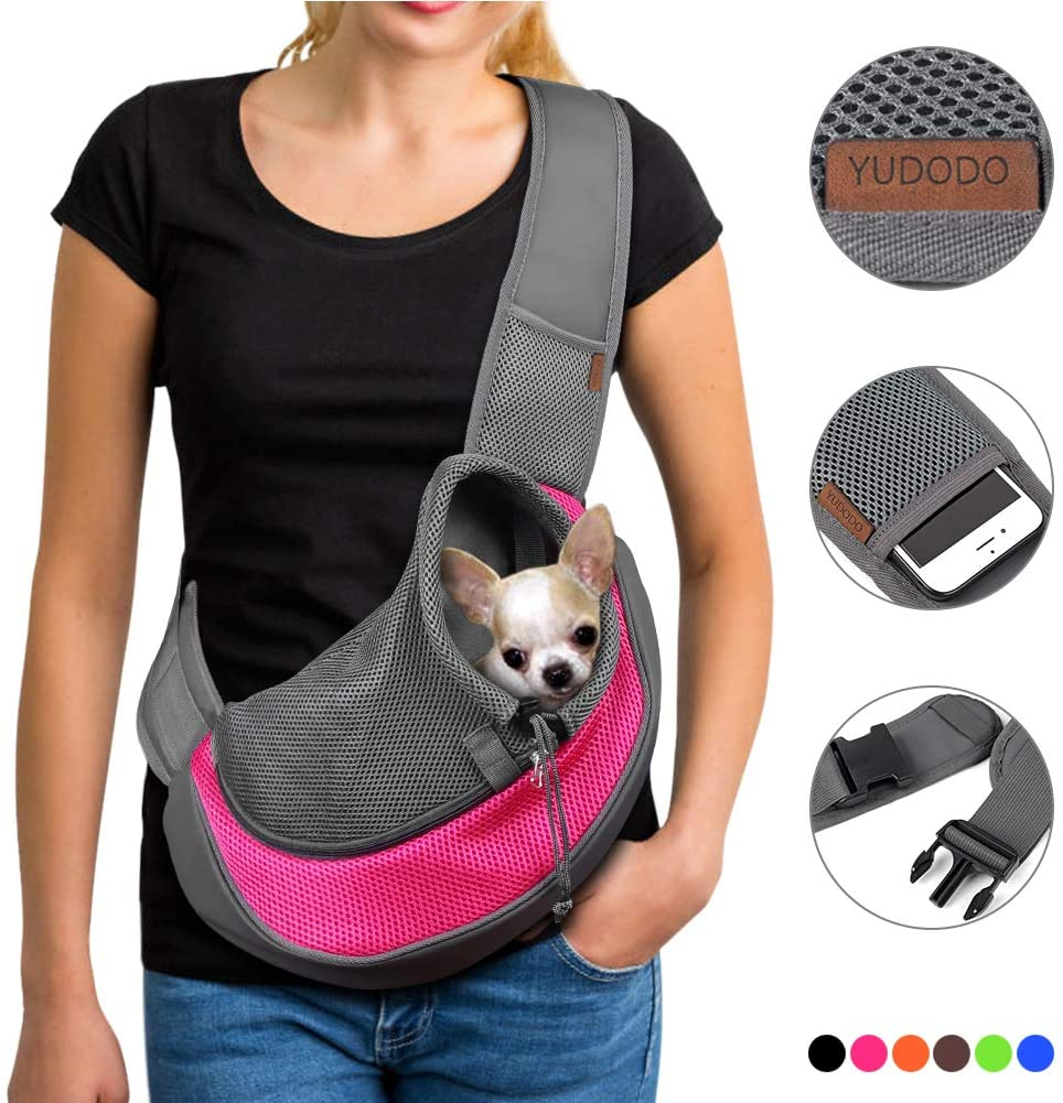 YUDODO Pet Breathable Mesh Dog Sling Travel Safe Carrier