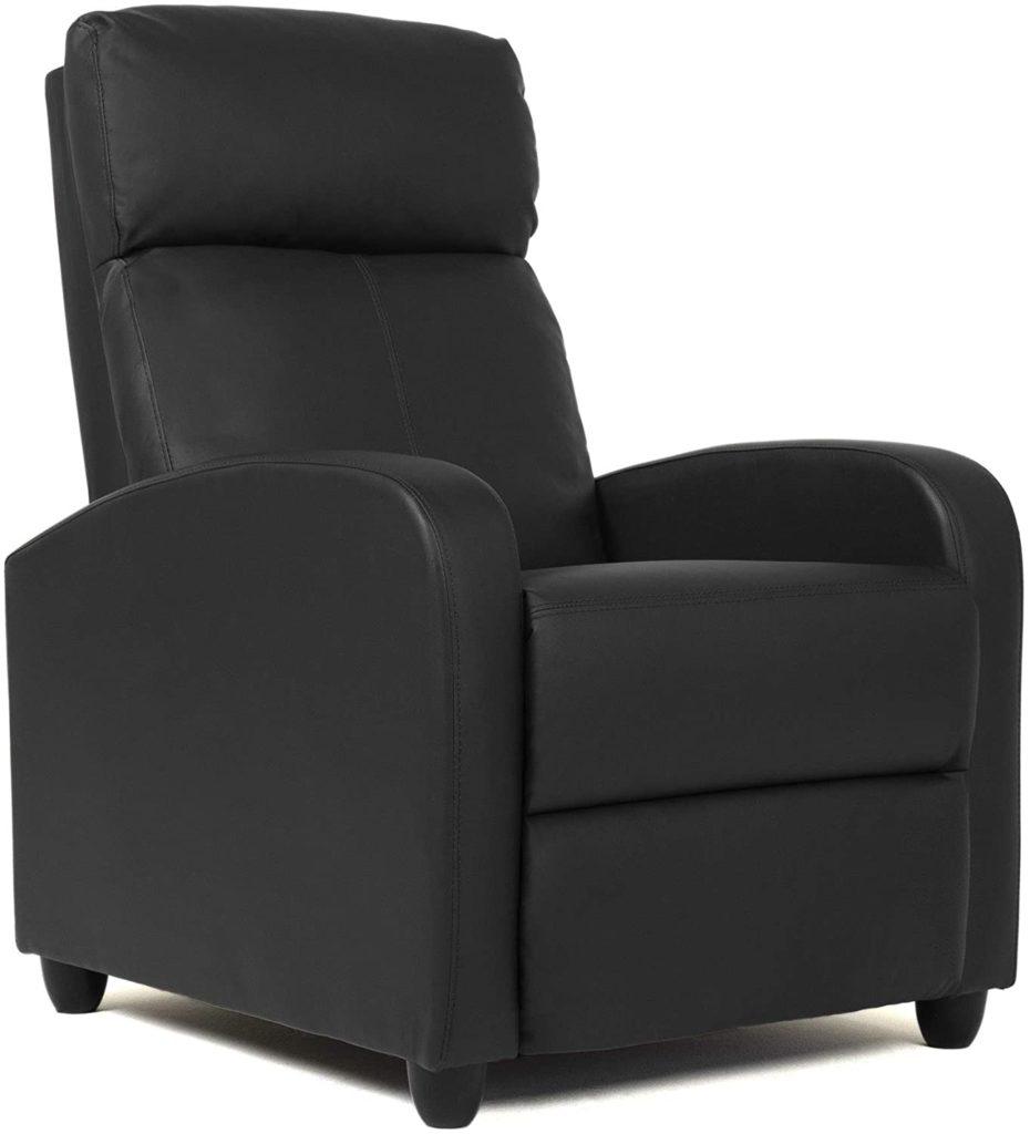 FDW Wingback Black Modern Sofa Leather Single Home Theater