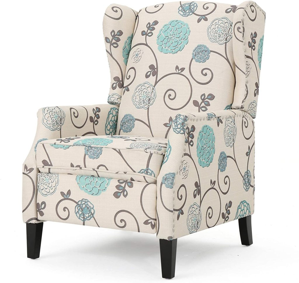 Christopher Knight Home Push Wescott Back Fabric Floral Patterned White Blue Recliner