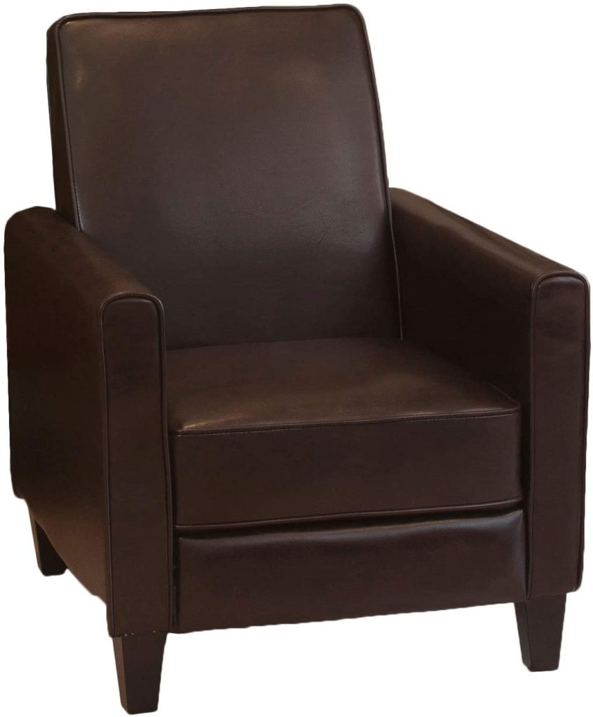 Christopher Knight Home Push Lucas Leather Back Club Chair Brown