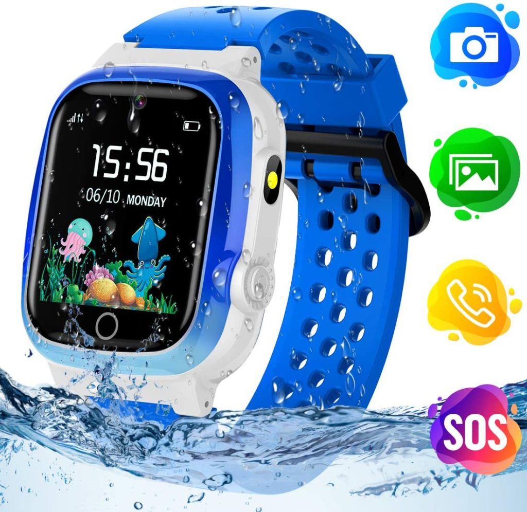 Themoemoe Smart Math Game Touch Screen SOS Kids Tracker Waterproof GPS Blue Watch
