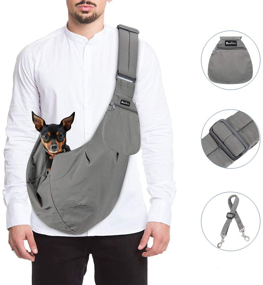 SlowTon Pet Bag Front Carrier Safety Belt Small Dog Hand Free Strap Tote