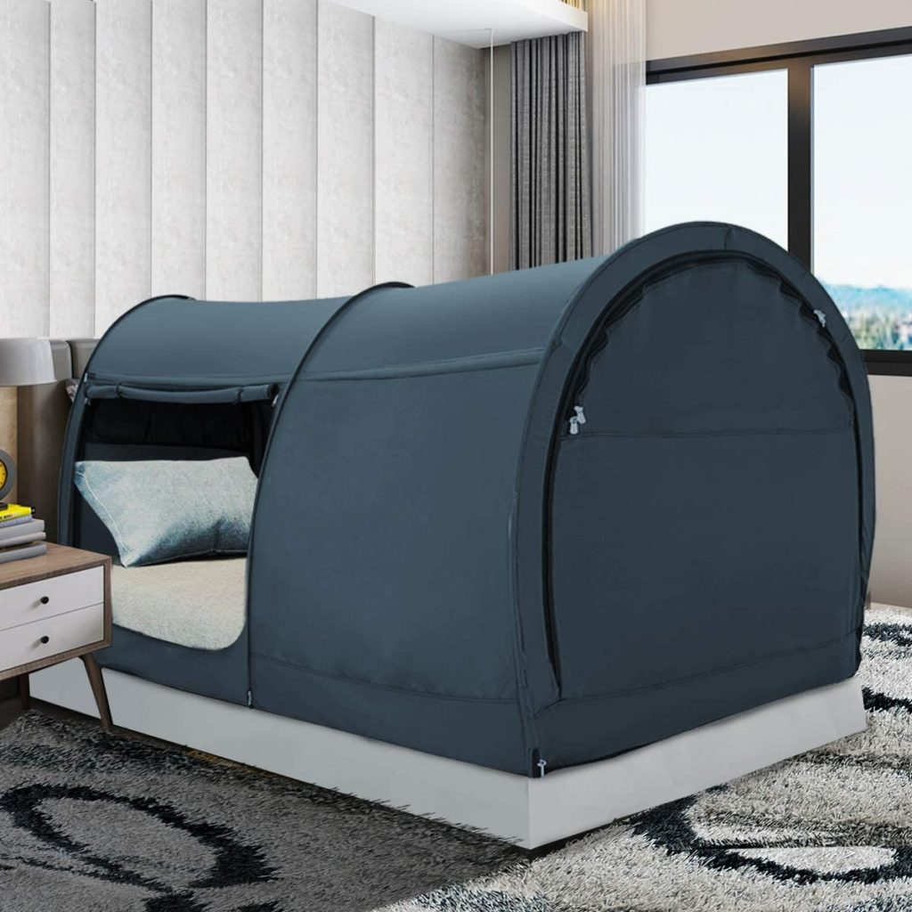 Leedor Canopy Shelter Twin Size Privacy Warm Cabin Indoor Adult Patent Black