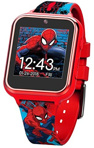 Marvel Boys' Silicone Strap Touch Screen Smart Kids 19.5 Red Watch