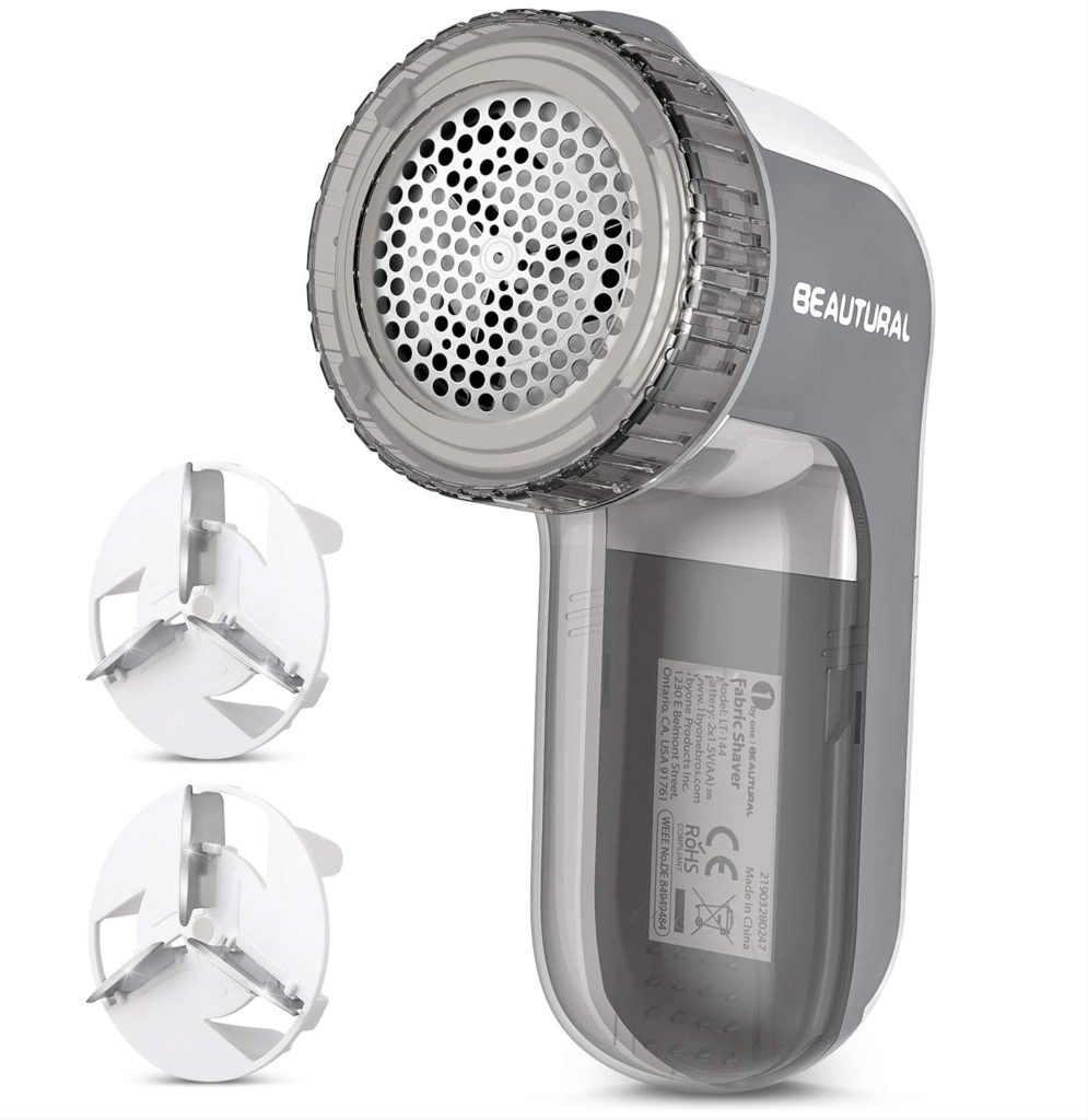 BEAUTURAL Sweater Stainless Steel Fabric Battery Operated Grey Shaver